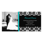 311 TURQUOISE DAMASK WEDDING PHOTO CARD
