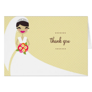 311-UPDO BRIDE THANK YOU BRUNETTE GREETING CARD