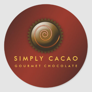 311-Upscale Gourmet Chocolate Crimson Round Sticker
