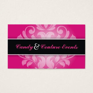 311 Vincelette Damask Hot Pink Liquorice Business Card