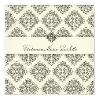 """311-Vivianna Cream & Black Damask Invitation 5.25"""" Square Invitation Card"""