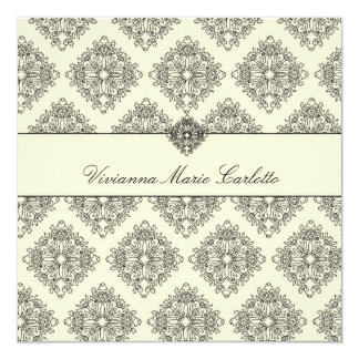311-Vivianna Cream & Black Damask Invitation