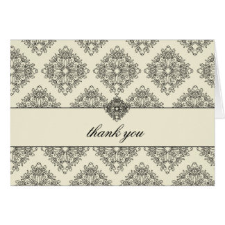 311 Vivianna Cream & Black Damask Thank You Card