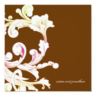 311-Vivid Foliage Flare Chocolate 13 Cm X 13 Cm Square Invitation Card