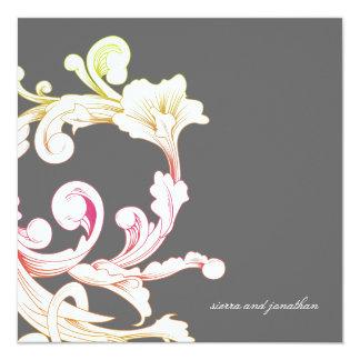 311-Vivid Foliage Flare Gray 13 Cm X 13 Cm Square Invitation Card