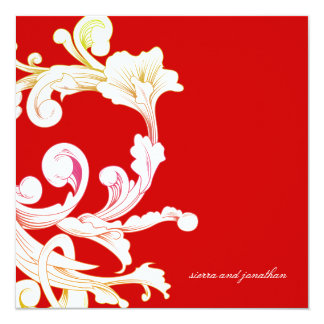 311-Vivid Foliage Flare Rouge 13 Cm X 13 Cm Square Invitation Card