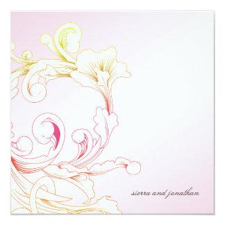 311-Vivid Foliage Pink Flare 13 Cm X 13 Cm Square Invitation Card