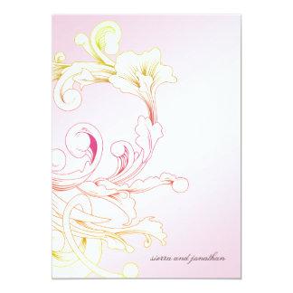 311-Vivid Foliage Pink Flare 13 Cm X 18 Cm Invitation Card