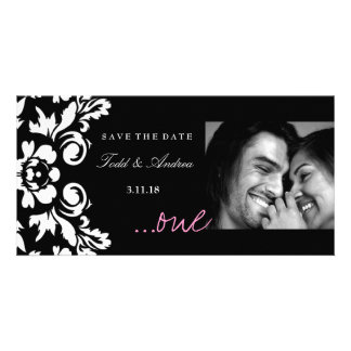 """311-White Damask """"ONE"""" Pink Save the Date Personalised Photo Card"""