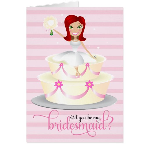 311 Will You Be My Bridesmaid Red Head Greeting Card