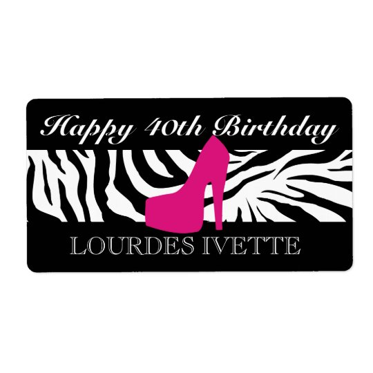 311 Zebra Heel Pink Label Shipping Label