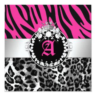 311 Zebra Leo Tique Diamonds n' Kisses Sweet 16 13 Cm X 13 Cm Square Invitation Card