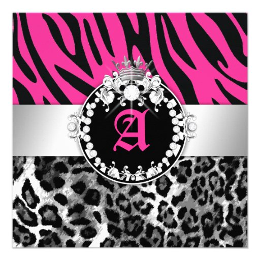 311 Zebra Leo Tique Diamonds n' Kisses Sweet 16 Personalized Invitation