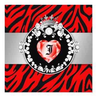 311 Zebra Tique Kiss Queen of Hearts Sweet16 13 Cm X 13 Cm Square Invitation Card