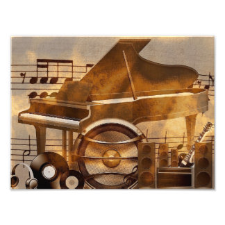 313583 DIGITAL MUSICAL GOLDEN COLLAGE GUITAR PIANO PHOTOGRAPHIC PRINT