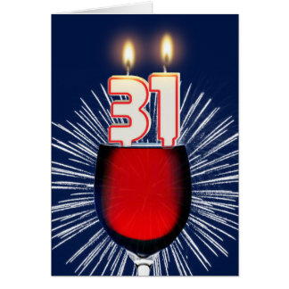 31st Birthday with wine and candles Card