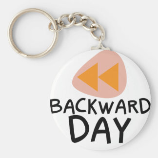 31st January - Backward Day Basic Round Button Key Ring