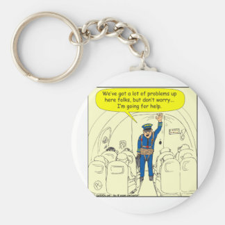 324 Airline pilot going for help color cartoon Basic Round Button Key Ring