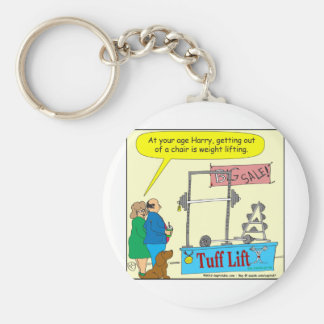 325 weight lifting and getting older color cartoon basic round button key ring
