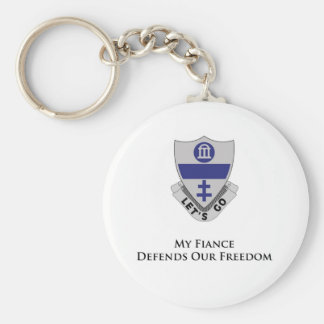 325th PIR- My Fiance Defends Our Freedom Basic Round Button Key Ring
