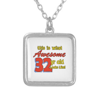 32 birthday designs personalized necklace