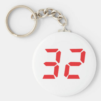 32 thirty-two red alarm clock digital number basic round button key ring