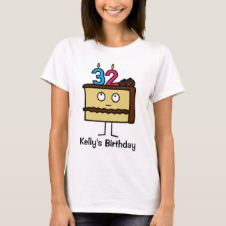 32nd Birthday Cake with Candles T-Shirt
