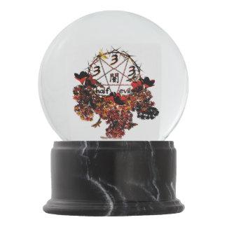 333 half evil pentagram snow globe