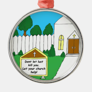 337 Church sign Cartoon Silver-Colored Round Decoration