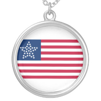 33 Star Great Star Oregon State American Flag Round Pendant Necklace