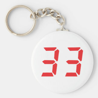 33 thirty-three red alarm clock digital numbr basic round button key ring