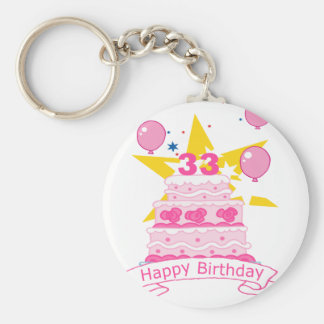 33 Year Old Birthday Cake Basic Round Button Key Ring