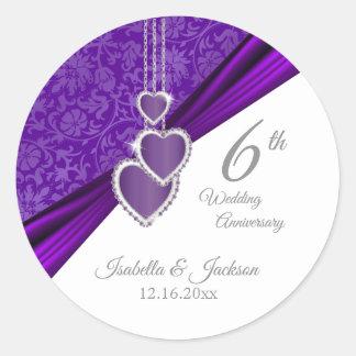 33rd / 6th Amethyst Wedding Anniversary Design Classic Round Sticker