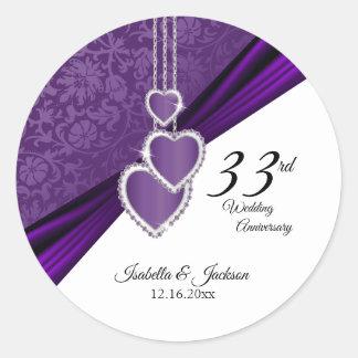 33rd Amethyst Purple Wedding Anniversary Classic Round Sticker
