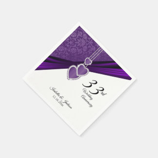 33rd Amethyst Purple Wedding Anniversary Disposable Napkin
