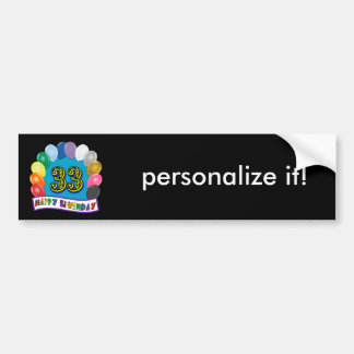 33rd Birthday Balloons Design Bumper Sticker