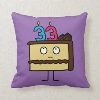 33rd Birthday Cake with Candles Throw Pillow