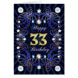 33rd birthday card with masses of jewels