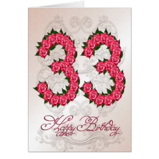 33rd birthday card with roses and leaves