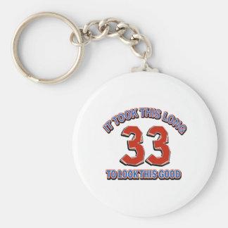 33rd birthday design basic round button key ring