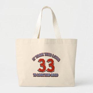 33rd birthday design large tote bag