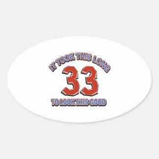 33rd birthday design oval sticker