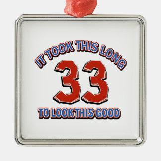 33rd birthday design Silver-Colored square decoration