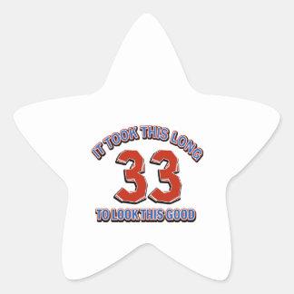 33rd birthday design star sticker