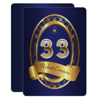 33rd,birthday party woman man,elegant color card
