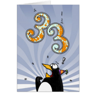 33rd Birthday - Penguin Surprise Card