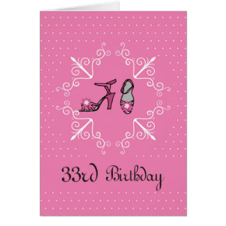 33rd Birthday, Pink Shoes Card