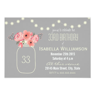 33rd Birthday Pink Watercolor Flowers & Mason Jar Card