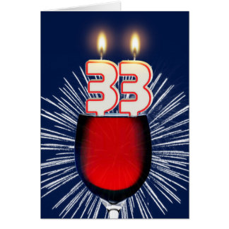 33rd Birthday with wine and candles Card