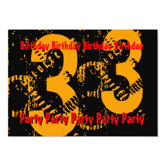 33rd Gold Red Black Birthday PartyTemplate Card